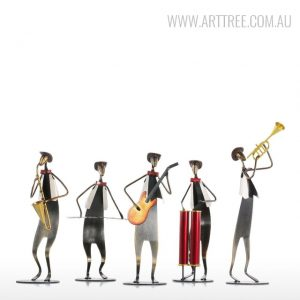 Cow-Boy-Music-Band-Figurines-Iron-Metal-Sculptures